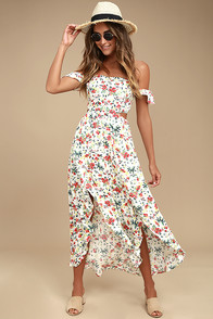 Easy On The Eyes Cream Floral Print Off-the-Shoulder Midi Dress at Lulus.com!