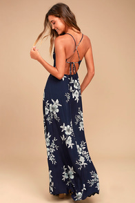 Bells of Beauty Navy Blue Floral Print Maxi Dress
