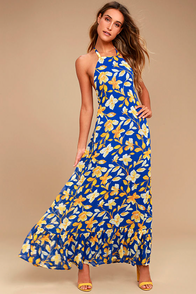 Meadow Meandering Yellow and Blue Floral Print Halter Maxi Dress