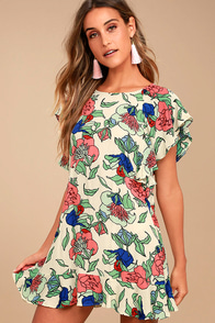 Tavik Layne Beige Floral Print Dress at Lulus.com!