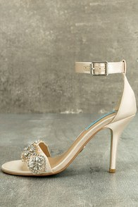 Blue by Betsey Johnson Gina Champagne Satin Ankle Strap Heels