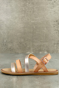 Haddie Blush Metallic Gladiator Sandals