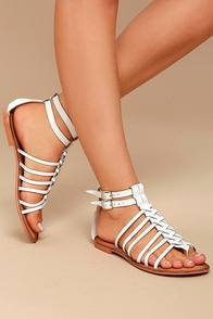 Naughty Monkey Boardwalk White Leather Gladiator Sandals