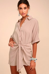 Go With the Flow Mauve Shirt Dress