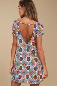 Perfect Getaway Blue and Orange Print Shift Dress
