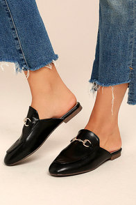 Chantae Black Loafer Slides