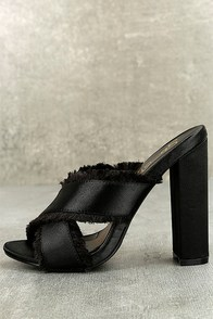 Taya Black Satin High Heel Sandals