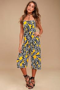 Olive & Oak Charlotte Yellow Print Midi Jumpsuit