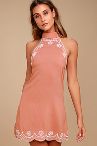 Roam On Blush Pink Embroidered Halter Dress
