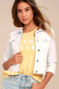Style Scope White Denim Jacket