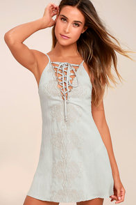 Garden Gazebo Grey Embroidered Lace-Up Dress