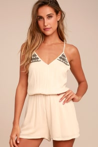 PPLA Marigold Light Beige Beaded Romper