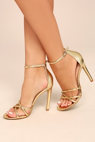 Michella Gold Metallic Ankle Strap Heels