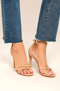 Michella Nude Nubuck Ankle Strap Heels