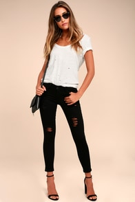 Wonderment Black Distressed Skinny Jeans