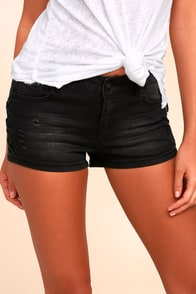 Kekoa Black Distressed Denim Shorts