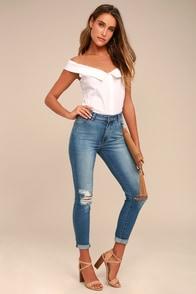 Rollas Westcoast Staple Medium Wash Distressed Skinny Jeans