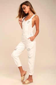 Always Be There White Distressed Overalls