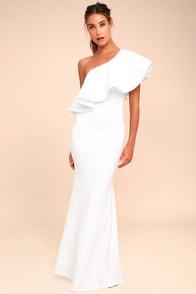 So Amazed White One-Shoulder Maxi Dress