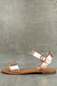 Hearts and Hashtags Rose Gold Flat Sandals