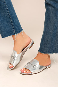 Steven by Steve Madden Fela Silver Leather Mules