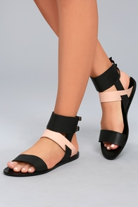 KAANAS  Prainha Black Leather Ankle Strap Sandals