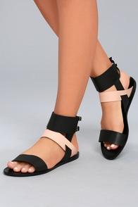 KAANAS  Prainha Black Leather Ankle Strap Sandals