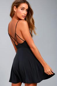 Shore Thing Washed Black Skater Dress