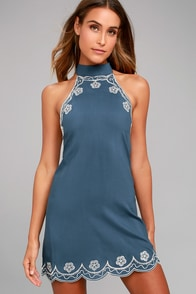 Roam On Denim Blue Embroidered Halter Dress