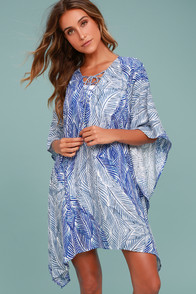 My Heart Belongs to the Sea Blue and White Print Cover-Up