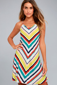 Olive & Oak Corey White Striped Dress