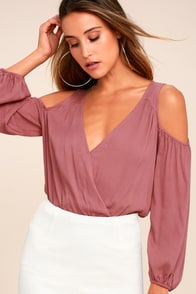 Kindhearted Rusty Rose Long Sleeve Crop Top