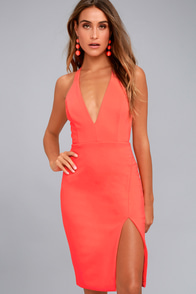 Aglow Neon Coral Bodycon Midi Dress