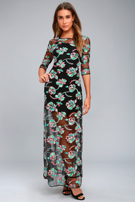 Bountiful Blossoms Black Embroidered Maxi Dress