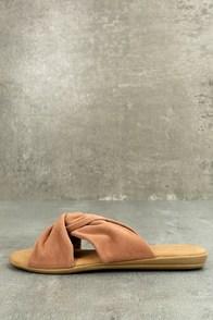 Santana Camel Suede Slide Sandals