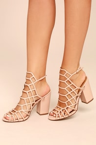 Hailey Pink Caged Heels