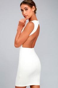 Hey Honey White Backless Bodycon Dress