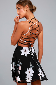 Happy Together Black Floral Print Lace-Up Dress
