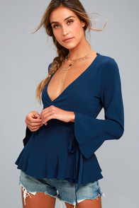 Great Expectations Navy Blue Wrap Top