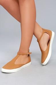 Gemma Camel T-Strap Sneakers