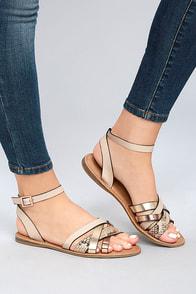 Laylani Beige Snake Print Flat Sandals