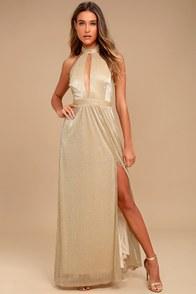 Be A Star Gold Halter Maxi Dress