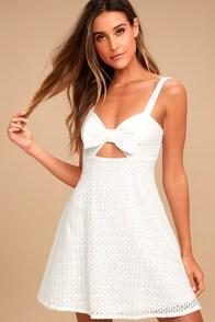 Songbook White Crochet Lace Skater Dress