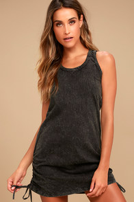 Olive & Oak Harmony Washed Black Bodycon Dress