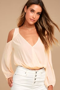 Kindhearted Pale Peach Long Sleeve Crop Top