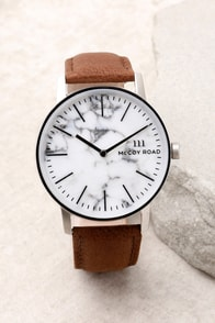 McCoy Road Ten40 White Marble and Brown Leather Watch