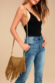 Macrame Baby Tan Crossbody Purse