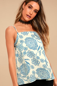 Sing a Song Blue and White Print Tank Top