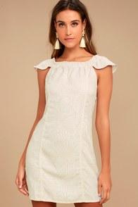 Obey Skylar Beige Print Off-the-Shoulder Dress