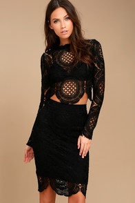 Keep it Moving Black Lace Pencil Skirt